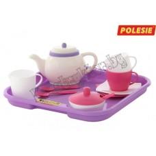 """Набор детской посуды """"Алиса"""" с подносом на 2 персоны (13 элементов) (в сеточке)"""