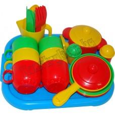 """Набор детской посуды """"Хозяюшка"""" с подносом на 6 персон"""