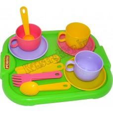 """Набор детской посуды """"Минутка"""" с подносом на 3 персоны"""