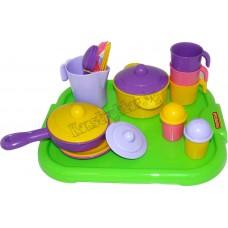 """Набор детской посуды """"Настенька"""" с подносом на 3 персоны"""