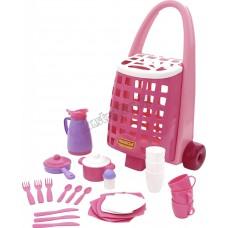Забавная тележка + набор детской посуды (31 эл.)